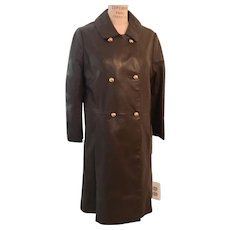 Leather Double Breasted 3/4 Length Wool Lined Coat with Brass Buttons  1960s
