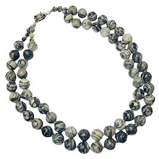 Zebra Jasper Hand Knotted 7.5 - 8mm Double Strand Necklace with Silvertone Clasp 1980s
