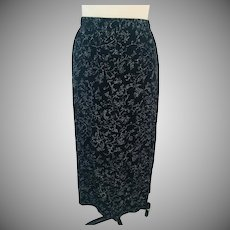 Black Stretch Midi Skirt with a Glitter Vine Allover Design, 1990s