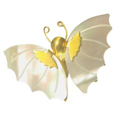 Carved Mother of Pearl Butterfly Brooch with Gold Tone Metal Accents and Body