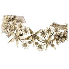 Bridal Hair Comb/Tiara Paris Hand Crafted Enamel by Debra Moreland