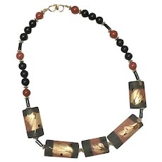 Abstract Black/Rust with Gold Leafed Hand Painted Clay Bead  Necklace
