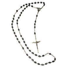 Italian Vintage Black Bakelite and Silver-tone and Copper Rosary
