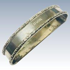Sterling Silver Antique Napkin Ring Monogrammed  Hallmarked  1900s