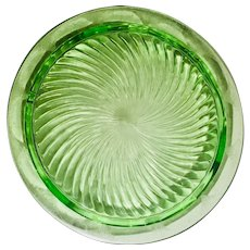 Green Vaseline Depression Glass Footed Cake Dish