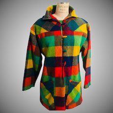 Popover Wool Jacket by Agile Florence Walsh  Bright Plaid 1960s