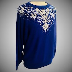 Silk  and Angora Embellished Sweater Royal Blue with Silver Maurada 1990's