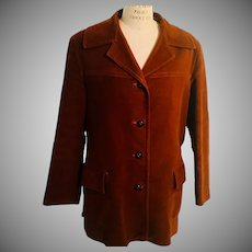 Dutch Men's Vintage Schuttersveld Velveteen Jacket Leather Buttons, 1950's- 60's