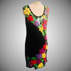All Over Sequin Black with Flowering Cascade by Royal Feelings 1970's