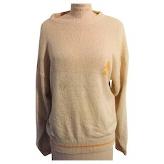 Wintersilks Ivory Silk Sweater with Graphic by The White Pine Co. 1980s
