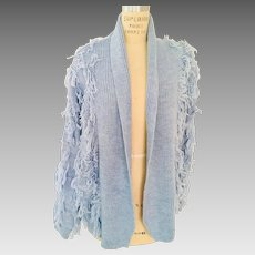 Fringed Open Wool Blend Sweater Jacket in Light Blue by Maurada, 1980s
