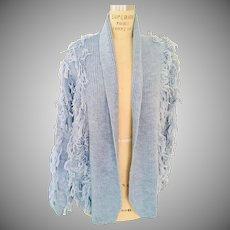 Fringed Open Wool Blend Sweater Jacket in Light Blue by Maurada, 1980s