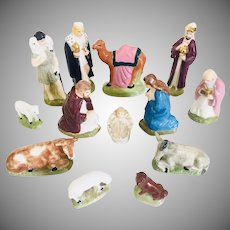 Vintage Ceramic 13 Piece  Nativity Set Hand Painted  1960s