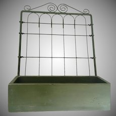 Farmhouse / Garden Green Wire and Wood Hanging Vintage Holder - Planter