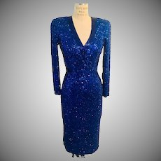 Lillie Rubin Sequin and Beaded  Silk Cocktail Dress Sheer Keyhole Back, 1980's