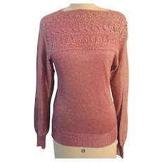 Vintage Rose/Pink Metallic Yarn Sparkling  Knit Lace Embellished Sweater Hong Kong 1970's