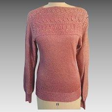 Vintage Rose/Pink Metallic Yarn Sparkling  Knit Lace Embellished Sweater Hong Kong 1970's