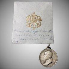 Catholic Blessed Pope Pius Medallion  1950's in Silver-tone Metal Original Envelope