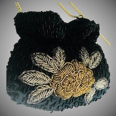 La Regale Vintage Beaded Pouch-Style Purse  Black with Gold Silver Flower After 5