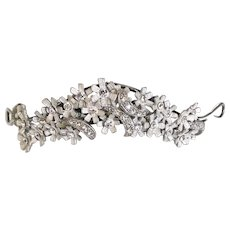 Petite Flower and Crystal Tiara in Matte Silverplate  Hair Jewelry Bridal Quinceneara Communion