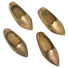 Shoe Slipper  Etched Brass Ashtray Set of 4 Individual  India, 1960s