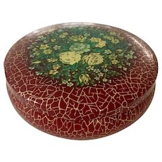 Dahmer Small Covered Round Lithographed Box with Roses and  Flowers on Lid