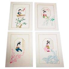 Set of 4 Japanese Print with Paper Cutout Geisha's