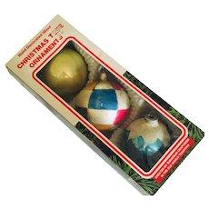 Three Mercury Glass Vintage Ornaments, In Original Box Made in Romania