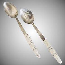 Mid Century Ekco Flint Harvest Wheat Serving Spoon Set