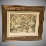 Vintage Sepia Lithograph Three Girls Playing Recorders by H. Meyer Framed 1960's