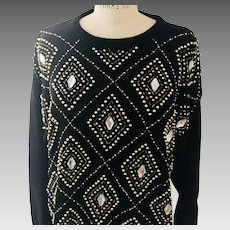 Geometric Beaded Tunic Sweater Black with Bronze Silver Beading & Faux Large Crystals 1980s