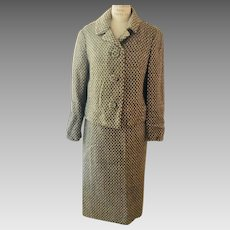 Custom Made Vintage Wool Suit, 1960's  2 Piece Basket Weave Grey/Beige