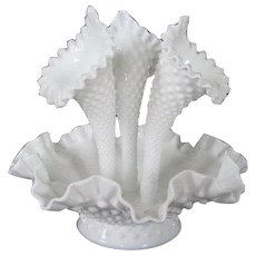 Fenton Ruffle Edge Hobnail Epergne White Vintage Flower Holder 1940's