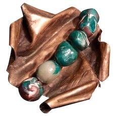 Artisan Copper Contemporary Brooch with Ceramic Beads, Unsigned