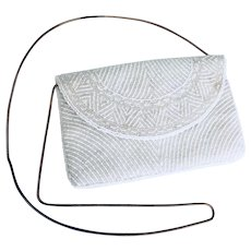 Beaded Evening Bridal Clutch Purse White and Iridescent All Over Beaded Design
