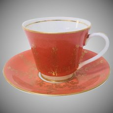 Aynsley England Tea Cup and Saucer Salmon and Gold Tone Leaf Vine Pattern