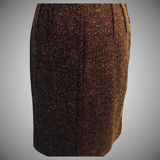 Vintage 1960's  Wool Tweed  Slim Skirt  Custom Made