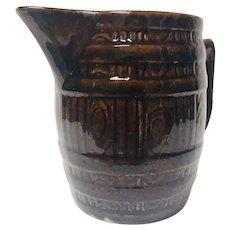 Vintage Stoneware Pitcher Banded Beer / Cider Barrel Design