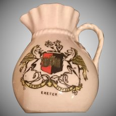 Antique 1800's City of Exeter Pitcher with Early Crest and Gold Trim