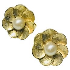 Gold Tone with Faux Pearl Flower Petal Clip Earrings, 1970's