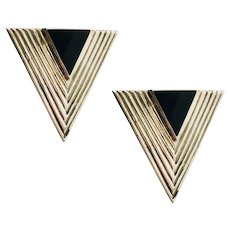 Sterling and Onyx Art Deco Inspired Triangle Pierced Earrings