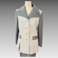 Leather and Poly Blend 1970's Grey Pantsuit - Mod Squad That 70's Show Style!