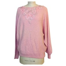 Maurada Pink Cut Out Lace with Faux Pearl Applique Sweater Silk Angora Lambswool