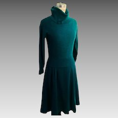 Ciao Vintage Teal Wool Knit Dress, Lined 1970's