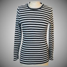 Jonathan Logan 1970's Black and White with Silver Stripe Zip Back Knit Top