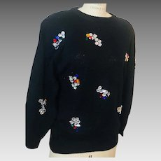 Any Time Glitz Faux Crystal Stone Studded Black Sweater 1980s