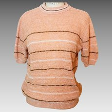 Mesh Weave SS  Stripe Sweater  Pale Orange Brown/White Stripe 1960s