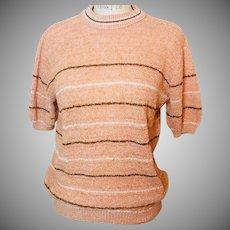 Mesh Weave SS  Stripe Sweater  Pale Orange Brown/White Stripe 1960s