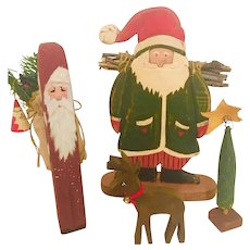 Vintage Folk Art Wood Carved Christmas Decor 4 piece Set