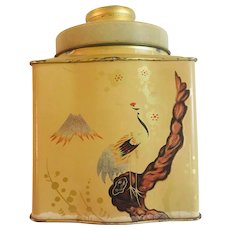 Tea Tin Lithographed Asian Design Bird and Butterfly Garden with top gold-tone finish lining and trim